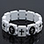 White/Black Wood Flex 'Cross' Bracelet - up to 20cm Length
