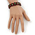 """Brown Bob Marley """"One Love"""" Wooden Stretch Bracelet - up to 20cm length - view 2"""