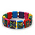 "Multicoloured Bob Marley ""One Love"" Wooden Stretch Bracelet - up to 20cm length - view 1"