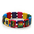 "Multicoloured Bob Marley ""One Love"" Wooden Stretch Bracelet - up to 20cm length - view 3"