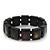 Black Wooden 'Hemp Leaf' Stretch Bracelet - Adjustable