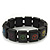 Black Wooden 'Peace' Flex Bracelet - Adjustable