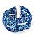 Boho Royal/ Light Blue Glass Bead Plaited Flex Cuff Bracelet - Adjustable