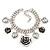 Vintage 'Rose&Heart' Mesh Charm Bracelet In Burn Silver Metal - 17cm Length/ 4cm Extension