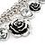 Vintage 'Rose&Heart' Mesh Charm Bracelet In Burn Silver Metal - 17cm Length/ 4cm Extension - view 7