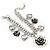 Vintage 'Rose&Heart' Mesh Charm Bracelet In Burn Silver Metal - 17cm Length/ 4cm Extension - view 9