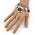 Vintage 'Rose&Heart' Mesh Charm Bracelet In Burn Silver Metal - 17cm Length/ 4cm Extension - view 3