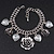 Vintage 'Rose&Heart' Mesh Charm Bracelet In Burn Silver Metal - 17cm Length/ 4cm Extension - view 2
