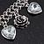 Vintage 'Rose&Heart' Mesh Charm Bracelet In Burn Silver Metal - 17cm Length/ 4cm Extension - view 6