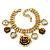 Vintage 'Rose&Heart' Mesh Charm Bracelet In Burn Gold  Metal - 17cm Length/ 4cm Extension