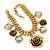 Vintage 'Rose&Heart' Mesh Charm Bracelet In Burn Gold  Metal - 17cm Length/ 4cm Extension - view 2