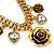 Vintage 'Rose&Heart' Mesh Charm Bracelet In Burn Gold  Metal - 17cm Length/ 4cm Extension - view 3