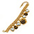 Vintage 'Rose&Heart' Mesh Charm Bracelet In Burn Gold  Metal - 17cm Length/ 4cm Extension - view 4