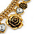 Vintage 'Rose&Heart' Mesh Charm Bracelet In Burn Gold  Metal - 17cm Length/ 4cm Extension - view 5