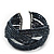 Boho Anthracite Grey Glass Bead Plaited Flex Cuff Bracelet - Adjustable