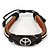 Unisex Dark Brown Leather 'Peace' Friendship Bracelet - Adjustable
