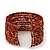 Boho Red/Gold/Orange Glass Bead Cuff Bracelet - Adjustable (To All Sizes) - view 5