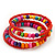 Teen's Brick Red Glass/ Multicoloured Wood Bead Multistrand Flex Bracelet - Adjustable - view 2