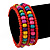 Teen's Brick Red Glass/ Multicoloured Wood Bead Multistrand Flex Bracelet - Adjustable - view 3