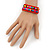 Teen's Brick Red Glass/ Multicoloured Wood Bead Multistrand Flex Bracelet - Adjustable - view 4