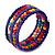 Teen's Blue Lilac Glass/ Multicoloured Wood Bead Multistrand Flex Bracelet - Adjustable - view 2