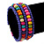 Teen's Blue Lilac Glass/ Multicoloured Wood Bead Multistrand Flex Bracelet - Adjustable - view 3