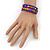 Teen's Blue Lilac Glass/ Multicoloured Wood Bead Multistrand Flex Bracelet - Adjustable - view 4