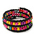 Teen's Black Glass/ Multicoloured Wood Bead Multistrand Flex Bracelet - Adjustable