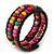 Teen's Black Glass/ Multicoloured Wood Bead Multistrand Flex Bracelet - Adjustable - view 2