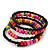 Teen's Black Glass/ Multicoloured Wood Bead Multistrand Flex Bracelet - Adjustable - view 3