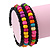Teen's Black Glass/ Multicoloured Wood Bead Multistrand Flex Bracelet - Adjustable - view 4
