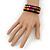 Teen's Black Glass/ Multicoloured Wood Bead Multistrand Flex Bracelet - Adjustable - view 5
