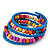 Teen's Light Blue Glass/ Multicoloured Wood Bead Multistrand Flex Bracelet - Adjustable - view 3