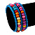 Teen's Light Blue Glass/ Multicoloured Wood Bead Multistrand Flex Bracelet - Adjustable - view 2