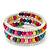 Teen's White Glass/ Multicoloured Wood Bead Multistrand Flex Bracelet - Adjustable - view 3