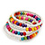Teen's White Glass/ Multicoloured Wood Bead Multistrand Flex Bracelet - Adjustable - view 4