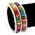Teen's White Glass/ Multicoloured Wood Bead Multistrand Flex Bracelet - Adjustable - view 2