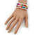 Teen's White Glass/ Multicoloured Wood Bead Multistrand Flex Bracelet - Adjustable - view 5