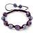 Purple Acrylic/Diamante Bead Children/Girls/ Petites Teen Buddhist Bracelet On Deep Purple String - Adjustable