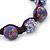 Purple Acrylic/Diamante Bead Children/Girls/ Petites Teen Buddhist Bracelet On Deep Purple String - Adjustable - view 2