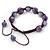 Purple Acrylic/Diamante Bead Children/Girls/ Petites Teen Buddhist Bracelet On Deep Purple String - Adjustable - view 3