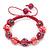 Deep Pink Acrylic/Diamante Bead Children/Girls/ Petites Teen Buddhist Bracelet On Pink String - Adjustable