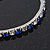 Slim Sapphire Blue/ Clear Coloured Diamante Flex Bracelet In Silver Plating - 18cm Length - view 3