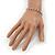 Slim Burgundy Red/Clear Diamante Flex Bracelet In Silver Plating - 18cm Length - view 4