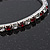 Slim Burgundy Red/Clear Diamante Flex Bracelet In Silver Plating - 18cm Length - view 2