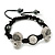 Silver Plated Swarovski Crystal Skull and Hematite Bead Buddhist Bracelet - Adjustable - 23mm Diameter - view 2