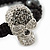 Silver Plated Swarovski Crystal Skull and Hematite Bead Buddhist Bracelet - Adjustable - 23mm Diameter - view 3