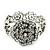 Vintage Crystal Rose Flex Bracelet In Burn Silver Metal - Up to 21cm Length - view 5