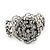 Vintage Crystal Rose Flex Bracelet In Burn Silver Metal - Up to 21cm Length - view 7