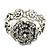 Vintage Crystal Rose Flex Bracelet In Burn Silver Metal - Up to 21cm Length - view 9
